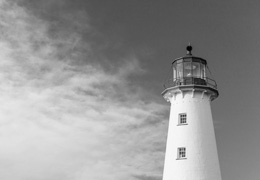 Black and white lighthouse photo